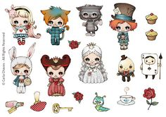 Alice Stickers set by ribonitachocolat on Etsy
