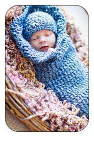 Cocoon Pod & Beanie Hat Set - Newborn Baby Photo Prop - Blue - Handmade Crochet