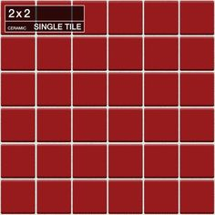 "Daltile QH77-22DM1P Natural Hues Scarlet 2"" x 2"" Dot Mounted Flat Ceramic Multi- Scarlet Tile Multi-Surface Tile Field Tile"