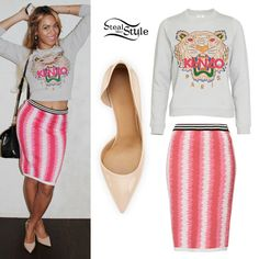 """Beyonce posted a new tumblr photo yesterday wearing a Kenzo Tiger Sweatshirt ($284.38 approx.), a Topshop Felt Tip Skirt ($68.00), and a pair of Salvatore Ferragamo Pam d'Orsay Pumps in """"New Bisque"""" ($525.00 – also at Neiman Marcus). Get the look for less with tiger sweaters from ASOS ($22.58) or ModCloth ($34.99) and nude d'orsay pumps from Jessica Simpson ($79.00) or Anne Klein ($19.75)."""