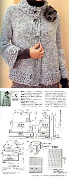 Knitting Pattern for Easy Quic Sweater Knitting Patterns, Knitting Stitches, Knitting Designs, Knit Patterns, Hand Knitting, Crochet Coat, Crochet Clothes, Pulls, Sweaters For Women
