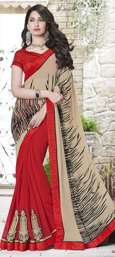 199036 Beige and Brown, Red and Maroon  color family Embroidered Sarees, Party Wear Sarees in Faux Georgette fabric with Border, Machine Embroidery, Patch, Resham, Stone, Zari work   with matching unstitched blouse.