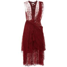Marchesa Red Chantilly Lace Deconstructed Kilt Cocktail Dress (£6,210) ❤ liked on Polyvore featuring dresses, marchesa, red cocktail dress, lace dress, red dress, front lace up corset and lace corset
