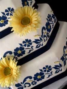 Yellow Gerber Daisy Navy Blue And White Wedding Cake 2
