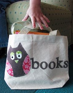 Owl library bag -cute sewing project, a book bag, make with a pocket inside to hold library card