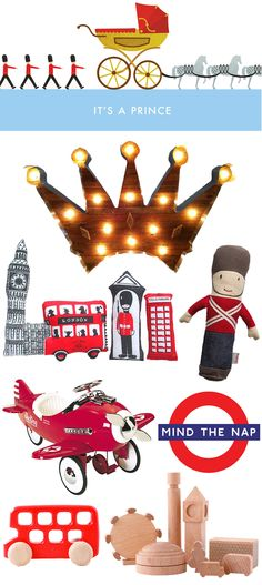 The Royal Nursery, Prince George, wooden crown marquee light, London pillow set, British solider rattle, play airplane, mind the nap onesie, wooden London block set, wooden double decker bus