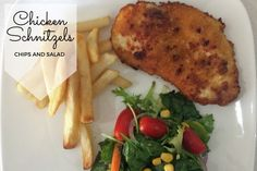 Chicken Schnitzels, Chips and Salad