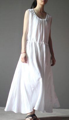 2016 original design. White summer linen dress sleeveless sundress casual maxi dress