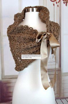 Crochet Bridesmaids Shawl Pattern Crochet Shrug Pattern Easy by BarbsDaughterDesigns Bolero Pattern, Crochet Shrug Pattern, Wrap Pattern, Crochet Shawl, Snood Pattern, Crochet Art, Crochet Stitch, Bridal Shawl, Wedding Shawl