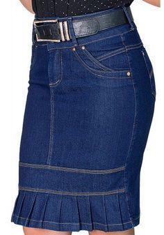 saia jeans escura justa barra plissada dyork viaevangelica frente detalhe
