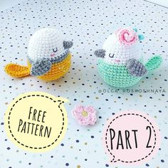 Here is the free amigurumi pattern for a cute spring bird. To crochet this bird … Here is the free amigurumi pattern for a cute spring bird. To crochet this bird you will need YarnArt Jeans yarn and mm crochet hook. Crochet Bird Patterns, Crochet Birds, Easter Crochet, Diy Crochet, Crochet Crafts, Crochet Projects, Knitting Patterns, Knitting Toys, Craft Patterns