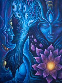 """luciddreamnectar: """"""""Tranquility� Collaboration between Susan Zuzka Allan and Olivia Curry (acrylic on canvas). x Can buy the original Here This was a live painting that started at a. Psy Art, Spirited Art, Art Pictures, Photos, Soul Art, Hippie Art, Visionary Art, Psychedelic Art, Art Inspo"""