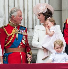 Prince Charles, Prince of Wales, Catherine, Duchess of Cambridge, Princess Charlotte, Prince George stand on the balcony during the Trooping the Colour, this year marking the Queen's official 90th birthday at The Mall on June 11, 2016 in London, England.
