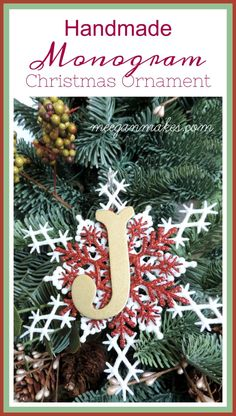Handmade Monogram Christmas Ornament - What Meegan Makes Christmas On A Budget, Christmas Wreaths, Christmas Ornaments, Handmade Christmas, Christmas Gifts, Tissue Paper Flowers, Glow Sticks, Flower Crafts, Holiday Decor