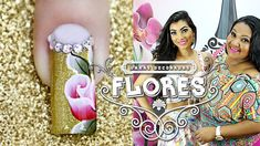 Unhas Decoradas Passo a Passo com Flores para Natal  (nail art tutorial)...