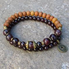 Love and Healing, genuine Garnet and Sandalwood bracelet stack. #loveprayjewelry