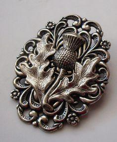 Sterling Silver pltd Thistle Scottish Pipers Plaid Kilt Hat Pin Brooch Celtic | eBay