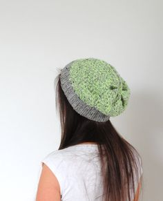 Neon Tweed Hat Knit Tweed Hat Neon Yellow Beanie Hat by SOVAknits
