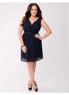 bc7cc1306fa7 Lane Bryant 26 Color Pop Lace Dress Belted Riviera Blue Black Double V  Surplice  LaneBryant · Trendy Plus Size ...