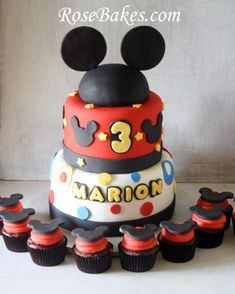 mickey mouse cakes | Mickey and Minnie Mouse Birthday Cakes & Cupcakes for Boy & Girl Twins