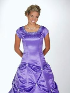 Lavender gown with rhinestones and cap floor length sleeves. Ball gown style. #modest #dresses_with_sleeves #prom