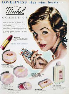 Michel Cosmetics range 1951  Vintage cosmetic adver