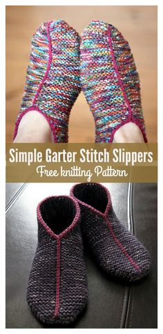 Simple Garter Stitch Slippers Free knitting Pattern #freeknittingpattern #slippers
