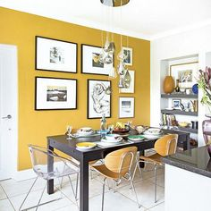 Want kitchen-diner decorating ideas? Take a look at this compact scheme with a yellow feature wall for inspiration
