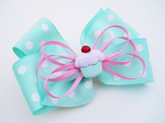 Cupcake Hair Bow  Mint Bow  Girls Hair Bow  by MissLottiesBoutique