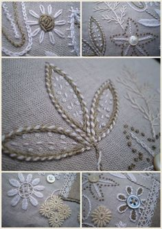 #embroidery, applied small flowers, lace, felt, rope, buttons