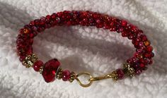 Baroque Ruby 8 inch Bangle Bracelet by FrenchMermaid on Etsy, $48.00