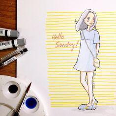 hello, sunny sunday | #mekaworks #drawing