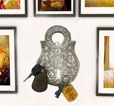 Indiabigshop Vater tag Geschenk Oxidieren Schloss Form Schl�sselanh�nger mit dem dekorativen Schnitzen Schl�sselh�nger