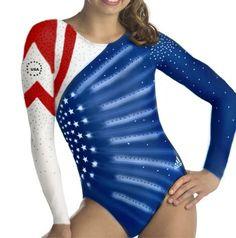Team USA Adidas Red White and Blue Shooting Star Leotard
