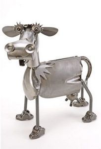 She's decorative, functional, and made from recycled metal. Bessie is crafted from rocker arms, washers and steel balls. If left outside, these hand-crafted art pieces will rust to a beautiful natural
