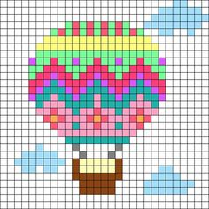 Hot_Air_Balloon by Lollymarie on Kandi Patterns Mini Cross Stitch, Cross Stitch Cards, Cross Stitching, Cross Stitch Embroidery, Hand Embroidery, Embroidery Patterns, Kandi Patterns, Perler Patterns, Beading Patterns
