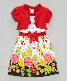 Take a look at this Red Floral Polka Dot Dress & Shrug - Infant, Toddler & Girls I bought at zulily today!