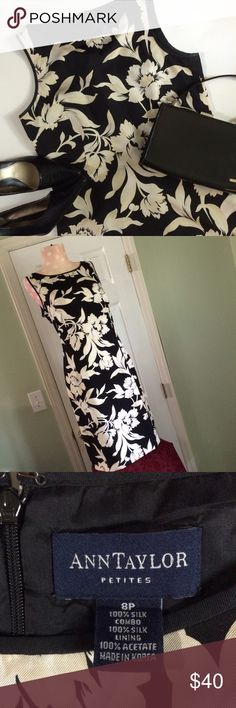"100% Silk Ann Taylor Dress Beautiful lined dress, black with big white/cream flowers..So Pretty 18"" across chest laying flat 36.25"" in length..The underarms are a bit blotchy with deodorant so I've accounted for dry cleaning in price of dress. Reasonable offers encouraged and Bundle 2 items to save 15%(I've got a couple cute black bags) ⚡️ Ann Taylor Dresses"