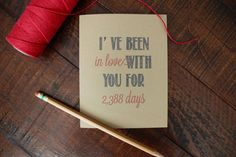 Days I've been in love with you Rustic Kraft Anniversary Card // Valentine // Valentine's Day Card // Greeting Card // Stationery Stationary...