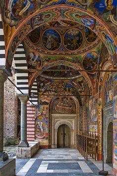 UNESCO World Heritage Site.                                Rila Monastery interiors, BULGARIA