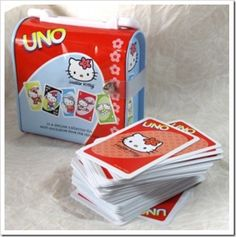 "In conjunction with the 40th anniversary of UNO, the lovely Hello Kitty UNO cards are brightly colored and feature Hello Kitty in many different poses and outfits. The Hello Kitty edition of this game even features the ""Love Me/Love Me Not"" special playing card."
