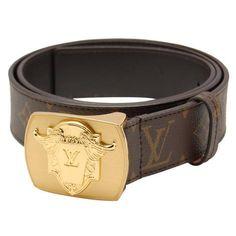 b80c75a41ed2 Louis Vuitton Monogram Leather Gold Lv Logo Plaque Buckle Belt  LB4385-544