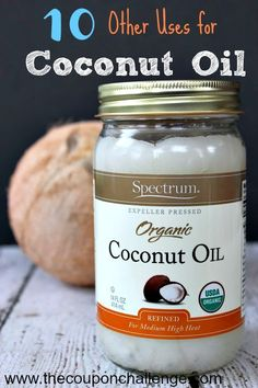 Coconut oil has so many other uses than just cooking.  Read 10 Other Uses for Coconut Oil and find out how to use it as a moisturizer, shaving cream and more!