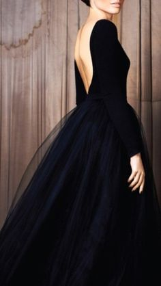 long+black+tulle+dress | -black-dress-backless-black-simple-plain-vintage-tulle-low-back-long ...