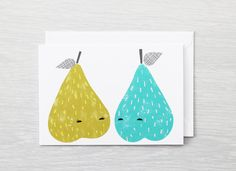 Couple of Pears Greeting Card I Love You by BeanieonHelinaINK, $4.80
