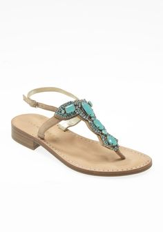 Vance Jeweled T-Strap Sandal, $134.99 - these turquoise sands match the ocean at Turks and Caicos!  #ivankatrumpshop