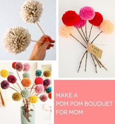 DIY Sweet Bunch of Pom Pom Flowers for Mother's Day
