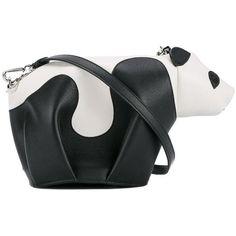 Loewe  mini leather panda crossbody bag ($1,090) ❤ liked on Polyvore featuring bags, handbags, shoulder bags, panda, black, crossbody purses, crossbody shoulder bag, leather crossbody, shoulder strap bags and mini shoulder bag