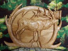 Elk Antler Relief Carving, Wooden Home Art, Wall Mount Sculpture, Country Rustic Decor - pinned by pin4etsy.com