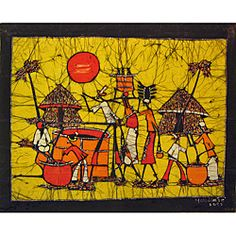 This large, unframed, one-of-a-kind wax batik from Mozambique is colorful and signed by the artist...stunning piece of wall art.
